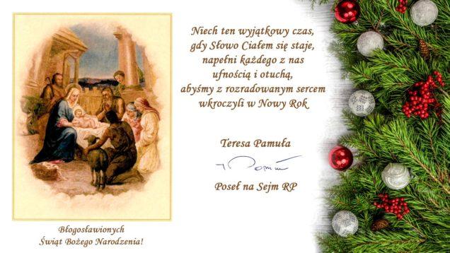 Życzenia Świąteczne Teresy Pamuły Posła na Sejm RP