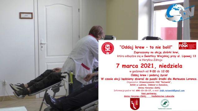 Oddaj krew to nie boli 2021 03 07 – niedziela